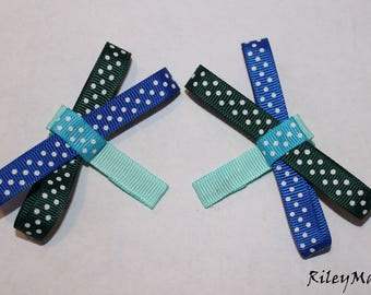 Dark Green, Royal Blue, Light Blue Hair Bow With Baby Blue Alligator Clip (Comes with 2)