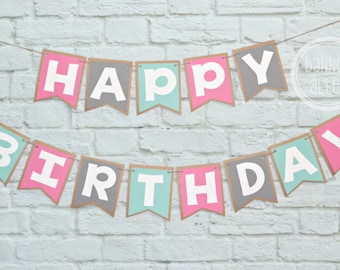 25%OFF Happy Birthday Banner ~ Birthday Party Decor ~ Photo Prop ~ Girls Birthday Decorations ~ Happy Birthday ~ Party Decorations ~ Pink Mi
