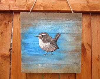 Pallet Painting, Song Sparrow painting, On Rustic Pallet, Distressed Wood Original Art, Rustic Wall Hanging,FREE SHIP, Great for Porch Decor
