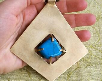 AZTEC DROP, talisman, blue Howlite, brass, necklace, pendant, crystal pendant