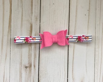 Felt bow headband, Pink bow on Navy striped Pink floral elastic