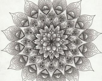 Mandala black and white detailed handmade
