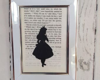 Hand painted and framed Alice in Wonderland wall art. vintage book page. Old book pages. Vintage book art. Vintage prints. Book page art.