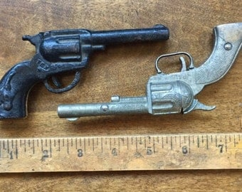 Toy Metal Guns, Old Small Toy Guns, Collectible Toy Metal Guns, Vintage Cowboy Toy Guns, Old Cowboy Toy Metal Guns, Antique Toy Guns