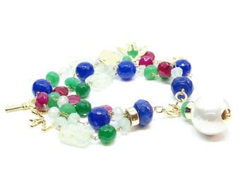 Quartz and Aquamarine Crystal with Pearl Pendant