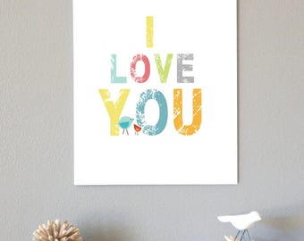 I LOVE You Childrens Wall Art 11x14 Poster