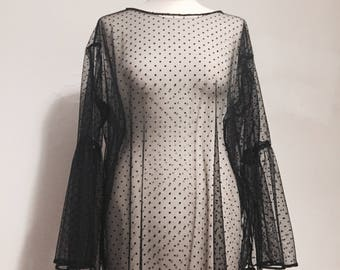 Handmade oversized polka dot mesh top with gathered bell sleeves