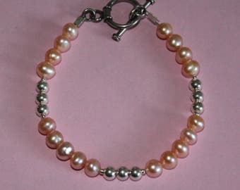 Dainty and Sweet Pale Pink Freshwater Pearl Bracelet with Sterling Silver Ball Accent Beads