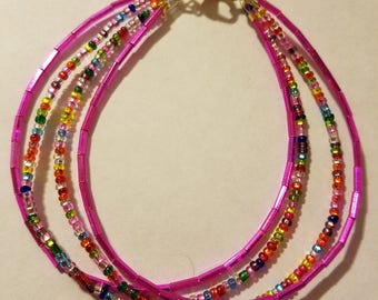 "8"" Pink and Rainbow Beaded Anklet"