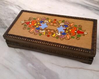 Burned Wood Box, Memory Box, Trinket Box, Painted Box, Wooden Jewelry Box