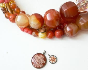 bright necklace made from natural stone beads and different glass beads.