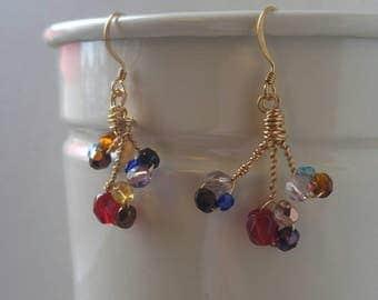 Delicate Danish cluster gold earrings
