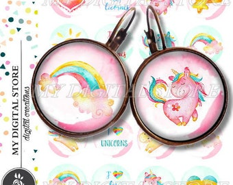 UNICORN LICORNE ID 1 id Digital Collage Sheet Printable Instant Download for art jewelry scrapbooking bottle caps magnets pins