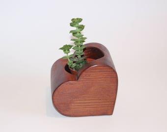 Heart shaped wooden planter