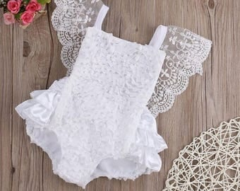 White lace baby girl romper