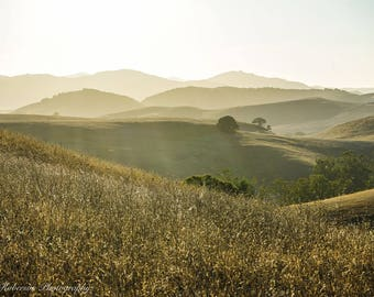 Golden Grass Hills Sunset Wall Art Print -- Fine Art landscape photography, California, Summer, Mountains, Home Decor, HeatherRobersonPhoto