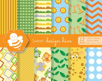Safari animals, digital paper set, commercial use, scrapbook papers, background, DP0006