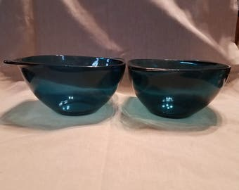 2 Vintage Mid Century Vereco France Colbolt Blue glass bowls with handles
