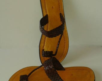 Mens' Leather Sandal, Plaited Leather Toe-Loop, FlipFlop, Beach Shoes, Summer Sandal, Strappy Sandal, Beach Wear, POOL PARTY!!