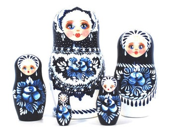 Beautiful Authentic Russian Hand Painted Handmade Blue Nesting Dolls Set of 5 Pc Matryoshkas