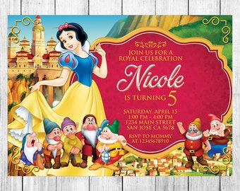 Snow White Invitation, Snow White Birthday, Snow White Invite, Snow White Party, Snow White Printable, Snow White Custom, Snow White Evite