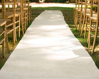 Wedding Aisle Runner Burlap White, Free Shipping