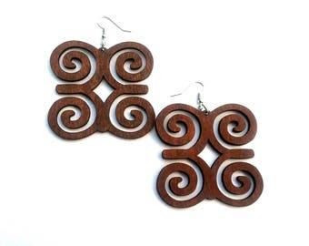 Large Adinkra wood earrings