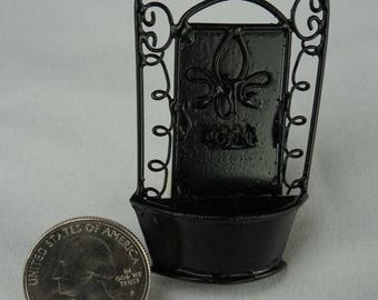Water Fountain, Black: Handley House, garden supplies, fairy garden, dollhouse, miniature, Aztec