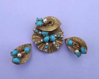 ORIGINAL By ROBERT Pin Pendant Set Dreamy Zen Organic Lily Pad Russian Gold Plated