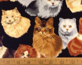 Cats cotton fabric by the yard
