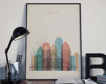 Dallas Art Dallas Watercolor Dallas Multicolor Dallas Wall art Dallas Wall Decor Dallas City Dallas Skyline Dallas Print Dallas Poster Print