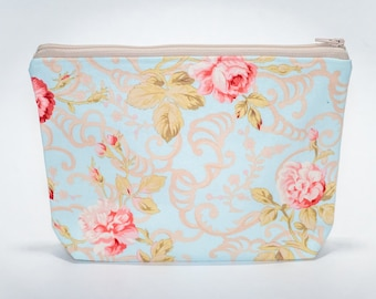 Stand Up Floral Zipper Pouch, Makeup Bag, Toiletry Bag, Small Project Bag, Pencil Case