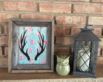 Antlers in Barn Wood Frame with Floral Barn Wood or Camouflage Background, 10.5x13