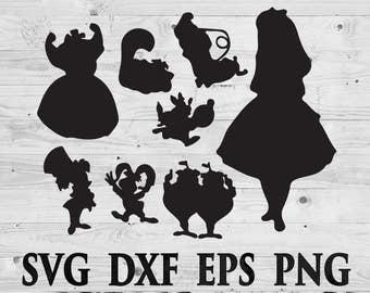Disney Alice in Wonderland SVG Files Disney Silhouettes DXF Files Cutting files Cricut Silhouette