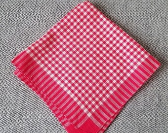 Vintage Handkerchief Red Checker