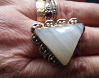 white Agate ring size U/V in silver