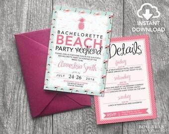 Tropical Flamingo Beach Bachelorette Invitation   Bachelorette Invitation   Bachelorette Party   Beach party   Tropical Party