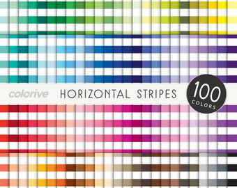 Horizontal Stripes digital paper 100 rainbow colors white striped pattern brights pastels neutrals printable scrapbooking paper