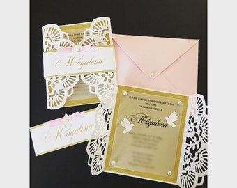 Gold and Pink Baptism Invitation, Wedding invitation, First Communion Invitation,