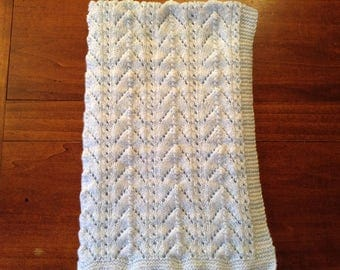 Baby blue and white blanket, knitted hand