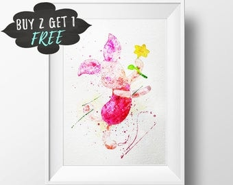 Baby Nursery Decor, Piglet Art Print Poster, Winnie The Pooh Wall Art Printable, Watercolor Pooh Download, Newborn Girl Nursery Decor Prints