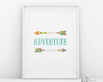 Adventure sign, Tribal nursery art, Colorful nursery, Teal art, Tribal nursery decor,Baby nursery wall art,Kids quotes,Arrows wall art