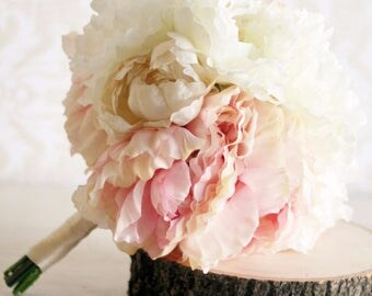 Silk Bride Bouquet Peony Flowers Peonies Shabby Chic Wedding Arrangement