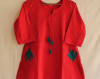 Red Cotton Short A line top with applique