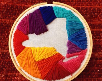 State (Out)Lines Embroidery Hoop Art
