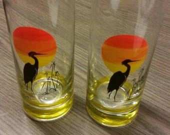 Set of 2 vintage Panache glass with bird