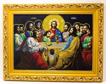 Beaded picture Last Supper Jesus Christ Apostles bead-embroidered decor gift beadwork embroidery bead art interior design decoration