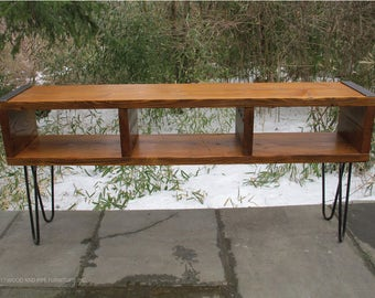 TV  Console, Entertainment Center, Reclaimed wood media console with hairpin legs, tv stand
