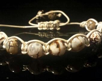 White Leather Macrame Bracelets