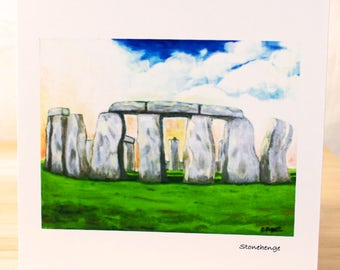 Stonehenge: Greeting card, quality reproduction of an original painting, (Free Post anywhere in the UK).